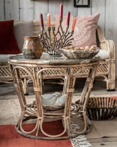 Bamboe tafel met glazen blad