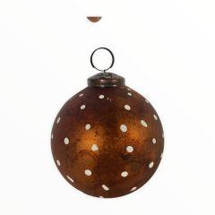 Kerstbal mat goud stip WEL068